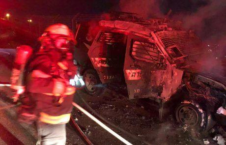 מעבר הזיתים: ג'יפ משטרתי נשרף