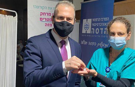 """מארה״ב להדסה: שגריר ישראל באו""""ם גלעד ארדן התחסן היום בהדסה עין כרם נגד נגיף הקורונה"""