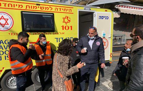 עמדת חיסון לחיסון ראשון נפתחה הבוקר בשוק מחנה יהודה
