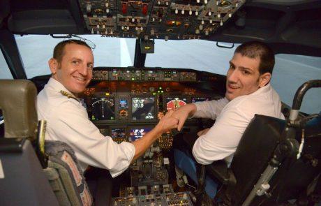 כיסא הטייס בסימולטור המבצעי בואינג 737 של אל-על הוחלף בכיסא גלגלים