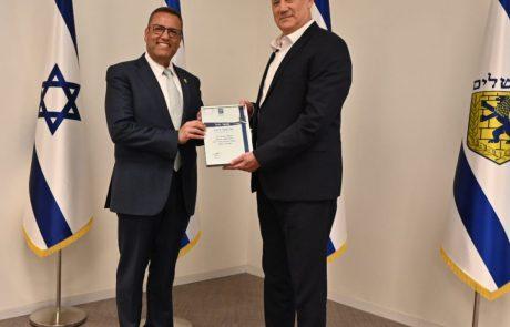 שר הביטחון וראש העיר נפגשו היום בירושלים; שר הביטחון הודה לראש העיר על תרומתו למאבק בקורונה